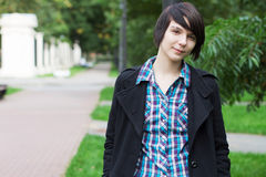 Portrait of the young woman with short black hair Stock Photography