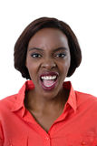 Portrait of young woman shouting Stock Photos