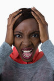 Portrait of young woman shouting Stock Photography