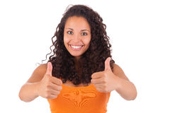 Portrait Of Young Woman Showing Thumb up sign Royalty Free Stock Photos