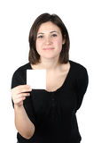 Portrait of young woman showing a white card Stock Photography