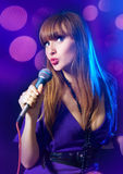 Portrait young Woman Singing Royalty Free Stock Photo