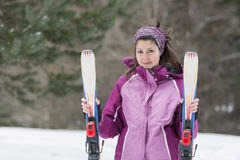 Portrait of  a Young woman  skier on the ski slope Stock Image