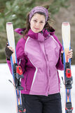 Portrait of  a Young woman  skier on the ski slope Royalty Free Stock Photography