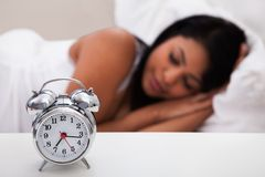 Portrait of young woman sleeping Stock Photos