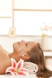 Portrait of young woman sleeping in day spa Royalty Free Stock Photos