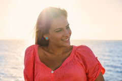 Portrait young woman smile happy sea beauty Stock Photography
