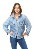 Portrait of a young woman smiling with blue jeans jacket Stock Photos