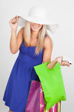 Portrait of a young woman smiling with her shopping bags Royalty Free Stock Photo