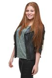 Young Woman Smiling with Leather Jacket Stock Image