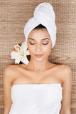 Portrait of young woman at a spa Royalty Free Stock Photo