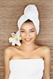 Portrait of young woman at a spa Stock Image