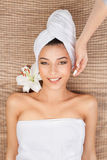 Portrait of young woman at a spa Stock Images