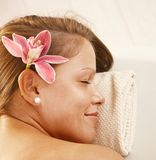 Portrait of young woman in spa Stock Photo