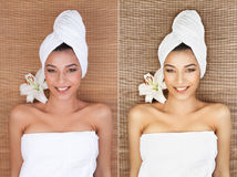 Portrait of young woman at a spa, lying on her back, smiling, wi stock images