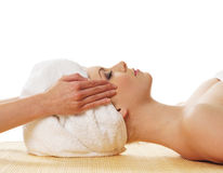 Portrait of a young woman on a spa massage Stock Photos
