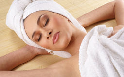 Portrait of a young woman on a spa procedure Royalty Free Stock Images