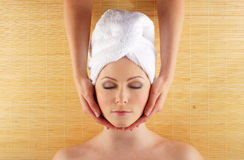Portrait of a young woman on a spa procedure Stock Photo
