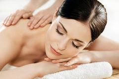 Portrait of a young woman during a spa procedure Stock Images