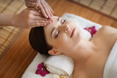 Portrait of a young woman during a spa procedure Royalty Free Stock Photography