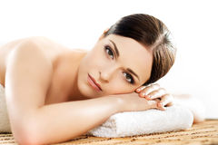 Portrait of a young woman during a spa procedure Stock Photos