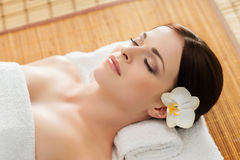 Portrait of a young woman during a spa procedure Royalty Free Stock Photo