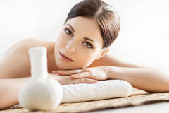 Portrait of a young woman during a spa procedure Royalty Free Stock Image
