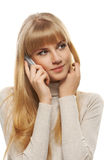 Portrait of young woman speaking on mobile phone Stock Photography