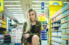 Portrait of Young Woman in Store Stock Photos
