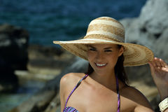 Portrait of young woman in straw hat Stock Photo