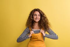 Portrait of a young woman in a studio on a yellow background. A portrait of a young woman with yellow dress in a studio on a yellow background stock photography