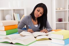 Portrait of young woman studying Royalty Free Stock Photography