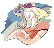 Portrait of a young woman in summer straw hat royalty free illustration