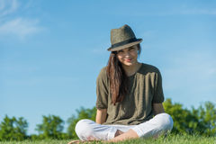 Portrait of young woman at sunny afternoon Royalty Free Stock Image