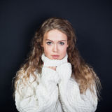 Portrait of the young woman in a sweater Stock Image