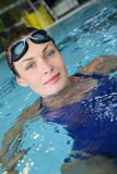 Portrait of young woman with swimming goggles Royalty Free Stock Photos