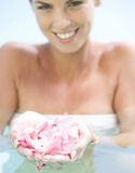 Portrait of a young woman in a swimming pool Royalty Free Stock Photo
