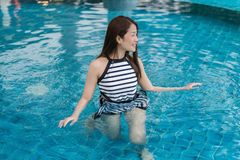 Portrait of young woman in swimming pool Stock Image