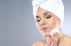 Portrait of a young woman after taking a bath Stock Photos