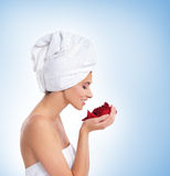 Portrait of a young woman after taking a bath Royalty Free Stock Photography