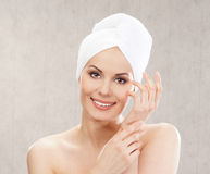 Portrait of a young woman after taking a bath Royalty Free Stock Images