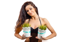 Portrait of young woman taking vases with grass Stock Photography