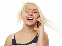 Portrait of a Young Woman Talking on Mobile Phone Royalty Free Stock Photography