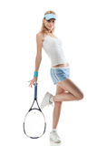 Portrait of young woman with tennis racket Royalty Free Stock Image
