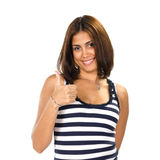 Portrait of young woman with thumbs up Stock Photo