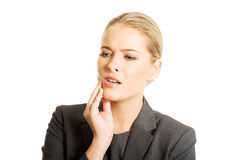 Portrait of young woman with toothache Royalty Free Stock Photography