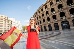 Woman traveling in Valencia city royalty free stock photography