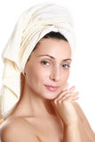 Portrait of young woman with towel Stock Photos