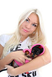 Portrait of young woman with toy-terrier Stock Images