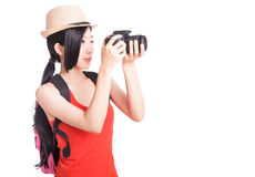 Portrait of young woman travelling Stock Photo